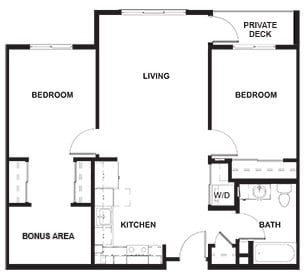2 Bedroom and Bonus Room Example Floor Plan