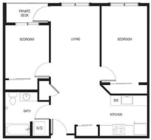 2 Bedroom Example Floor Plan